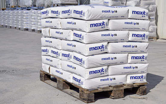 Pallets with sacks of mortar